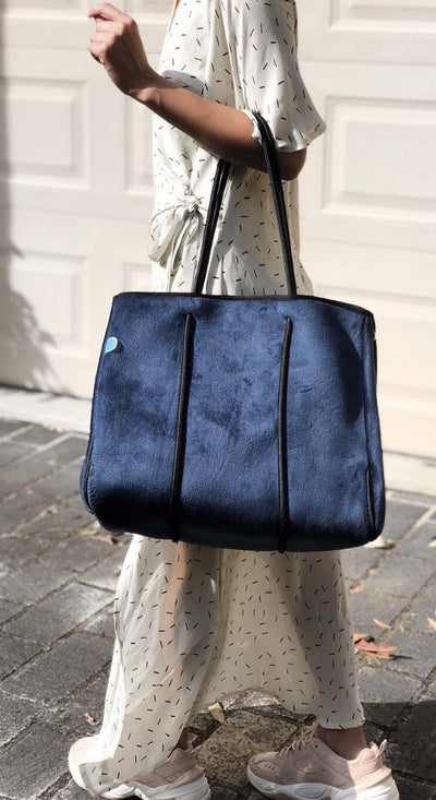 Eli Velvet Bag (Navy Velvet) stylish chic for work, gym, travel and everyday $119 USD  CHUCHKA