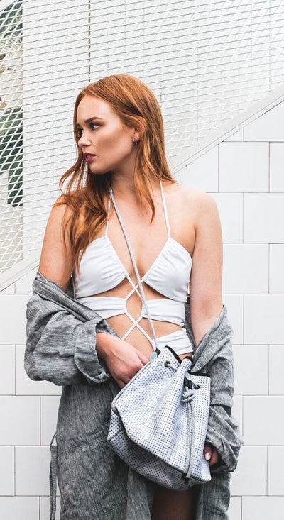 Evie Neoprene Bucket Bag in white grey camo for festival outings and everyday $79 USD  CHUCHKA