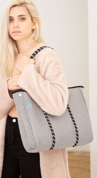 Granite Mini Neoprene Tote (Light Grey) for everyday, work, college and gym -   Chuchka