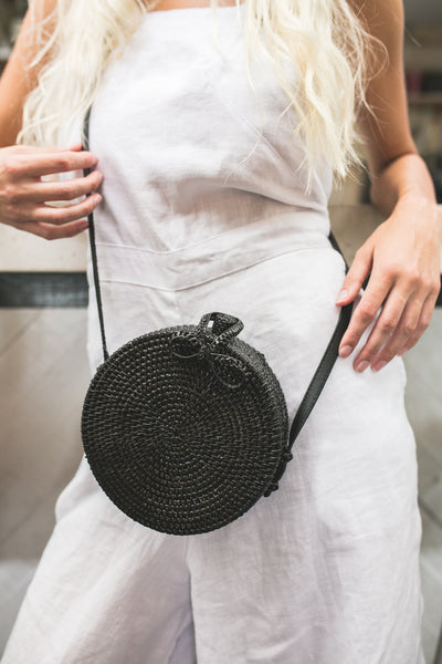 Hanoi Round Basket Bag (Black) | CHUCHKA Luxe Accessories