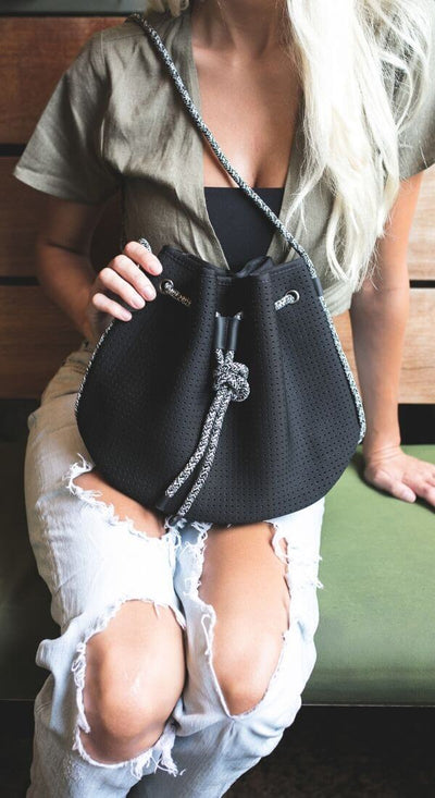 Ink Neoprene Bucket Bag (Black) for festival outings and everyday - $79 USD  CHUCHKA