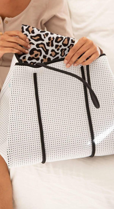 Kalli White Beach Bag (Internal Leopard Print) for beach, travel, gym and everyday - $119  CHUCHKA