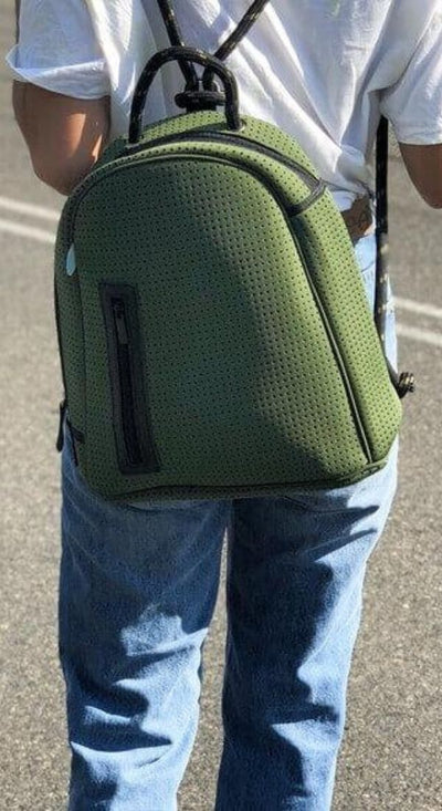 Kat Neoprene Backpack (Khaki Green) for beach, hikes, festival outings and everyday Chuchka