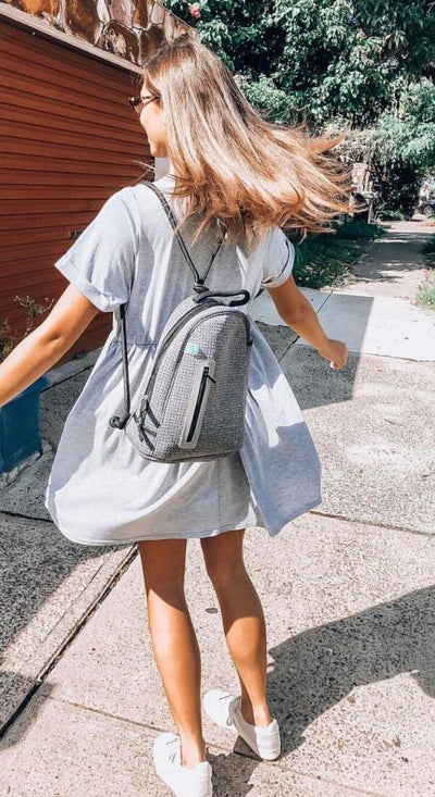 Kourt Neoprene Backpack (Grey Black) for festival outings, summer hikes, beach, sport, and everyday $69 USD  CHUCHKA