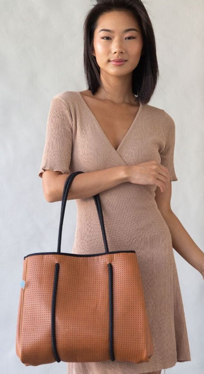 Lina Vegan Leather Mini Tote (Tan) for work, gym, beach and everyday CHUCHKA