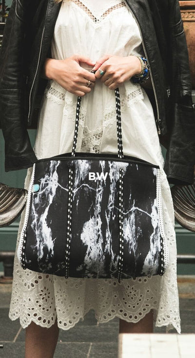 Onyx Marble Neoprene Tote Bag in black and white for beach and everyday - $119  CHUCHKA