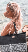 Playa Mexican Woven Bag (Handmade of recycled plastic) - $89 USD for shopping, beach, travel, and everyday in black and white -  CHUCHKA