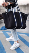 Sarah Black Neoprene Tote Bag (Striped Strap) for beach, gym, travel, work, and everyday - $119  CHUCHKA