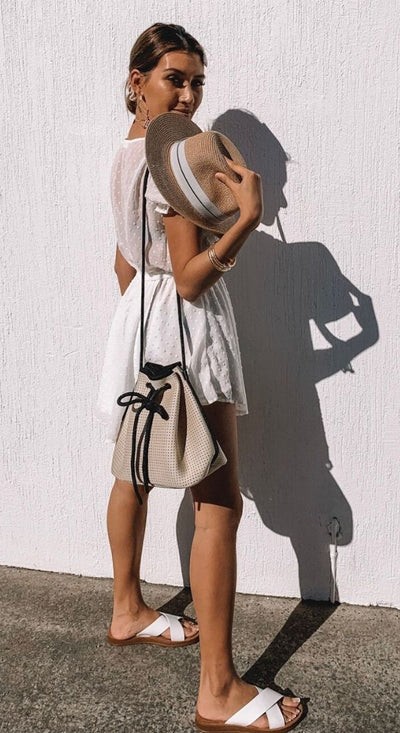 Sheina beige Neoprene Bucket Bag for festival outings and everyday $79 USD  CHUCHKA