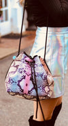 Shyla Neoprene Bucket Bag in multicolor snakeskin for festival outings and everyday $79 USD - CHUCHKA 2