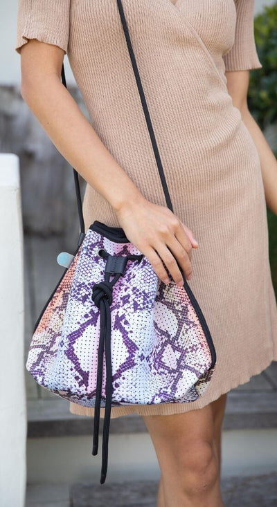 Shyla multicolor Snakeskin Neoprene Bucket Bag for festival outings and everyday $79 USD  CHUCHKA