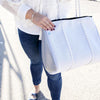 Zeke Neoprene Tote Bag (White  Metallic Silver) for gym, beach, travel, work and everyday - $119  CHUCHKA