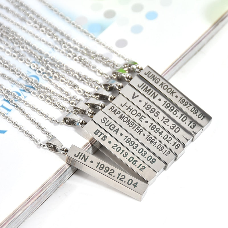 Hot BTS Members Name Date Cuboid Bar Pendant Necklace Fashion Jewelry Silver Titanium Chain Necklaces & Pendants Accessories