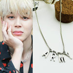 Fashion KPOP BTS Jimin ARMY NecklaceBangtan Boys A.R.M.Y Pendant Silver Metal Necklace Jewelry