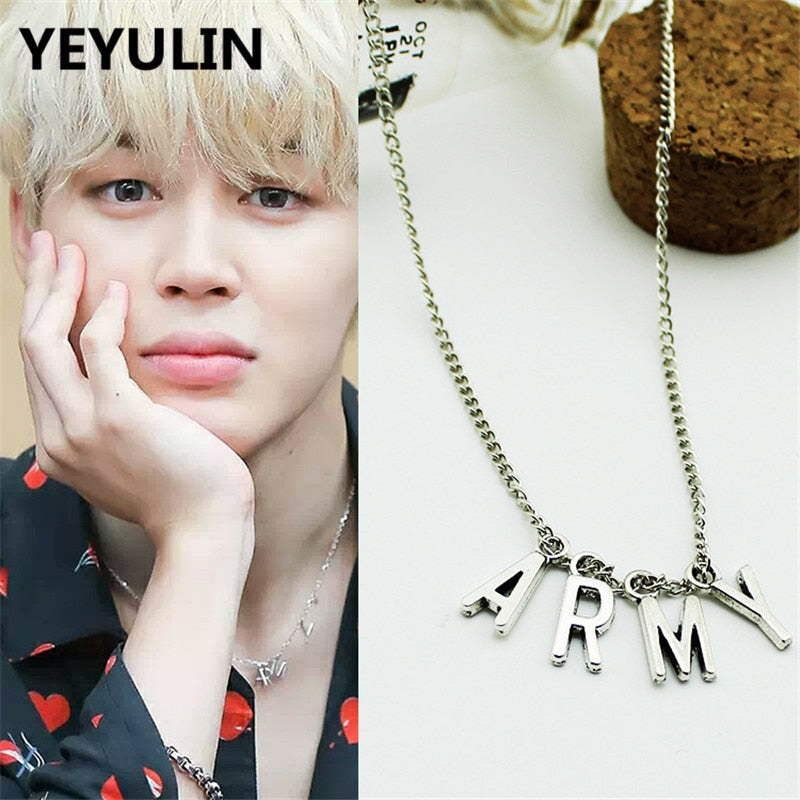 Hot Selling POP BTS Album Bangtan Boys ARMY Pendant Necklace For Korea Woman Man Choker Collier Jewelry Gift
