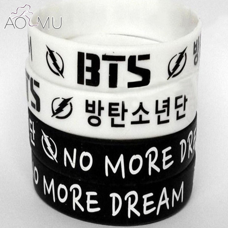 AOMU Black and White NO MORE DREAM K-POP BTS Bangtan Boys Wristband Silicone Bracelets Friendship Gifts