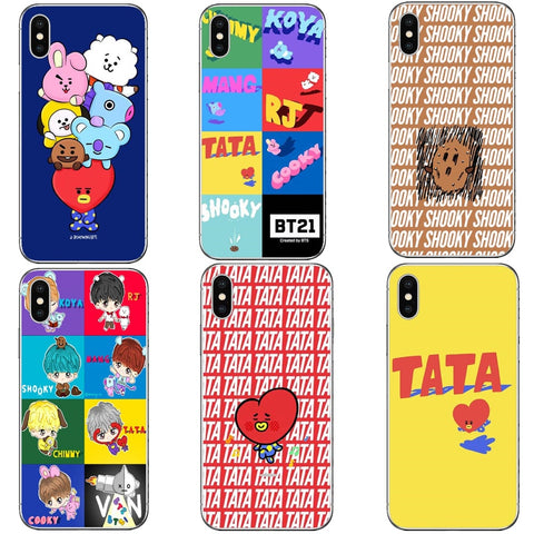 BTS Korea Bangtan Boys Young Forever  BT21 Hard PC Phone Cases Cover for iPhone 5 5s SE 6 6S Plus 7 7Plus 8 8 Plus X 10
