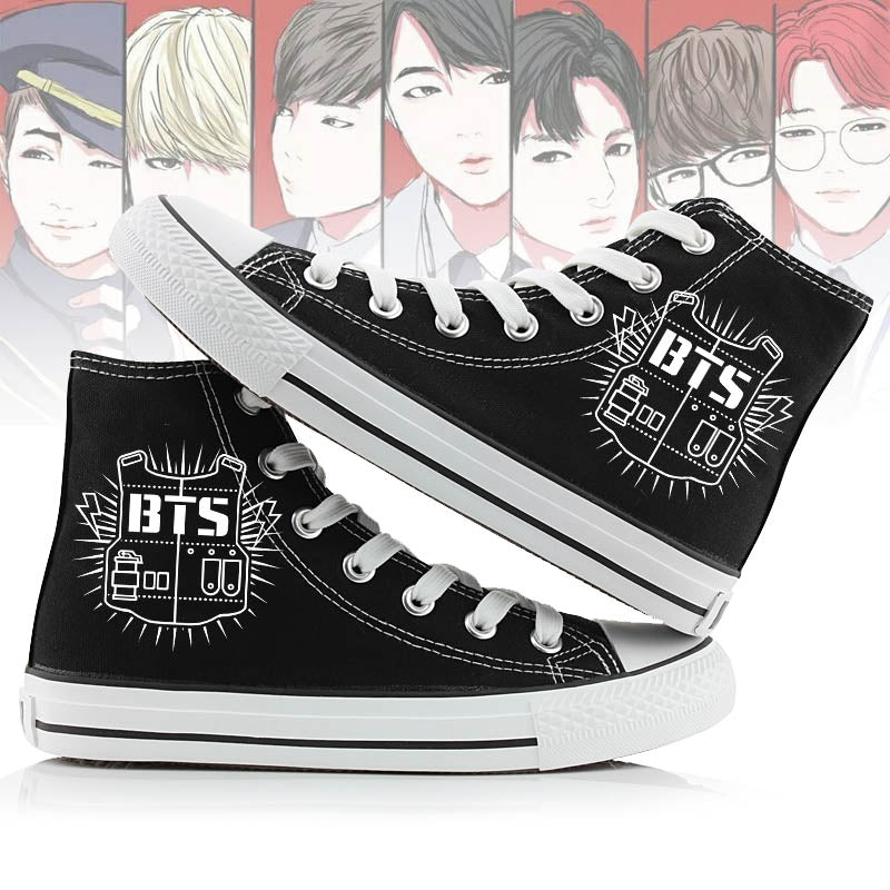 Unisex Fashion Kpop BTS Shoes High top Canvas Flat Sneakers Shoes Women Casual Printing Shoes  Leisure  Shoes