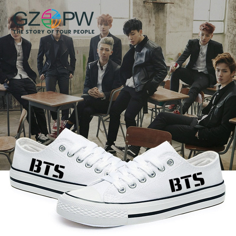 GZPW low canvas shoes white BTS cosplay shoes 2017 Hot sale men and classic casual shoes new fashion couple shoes  35-44big size