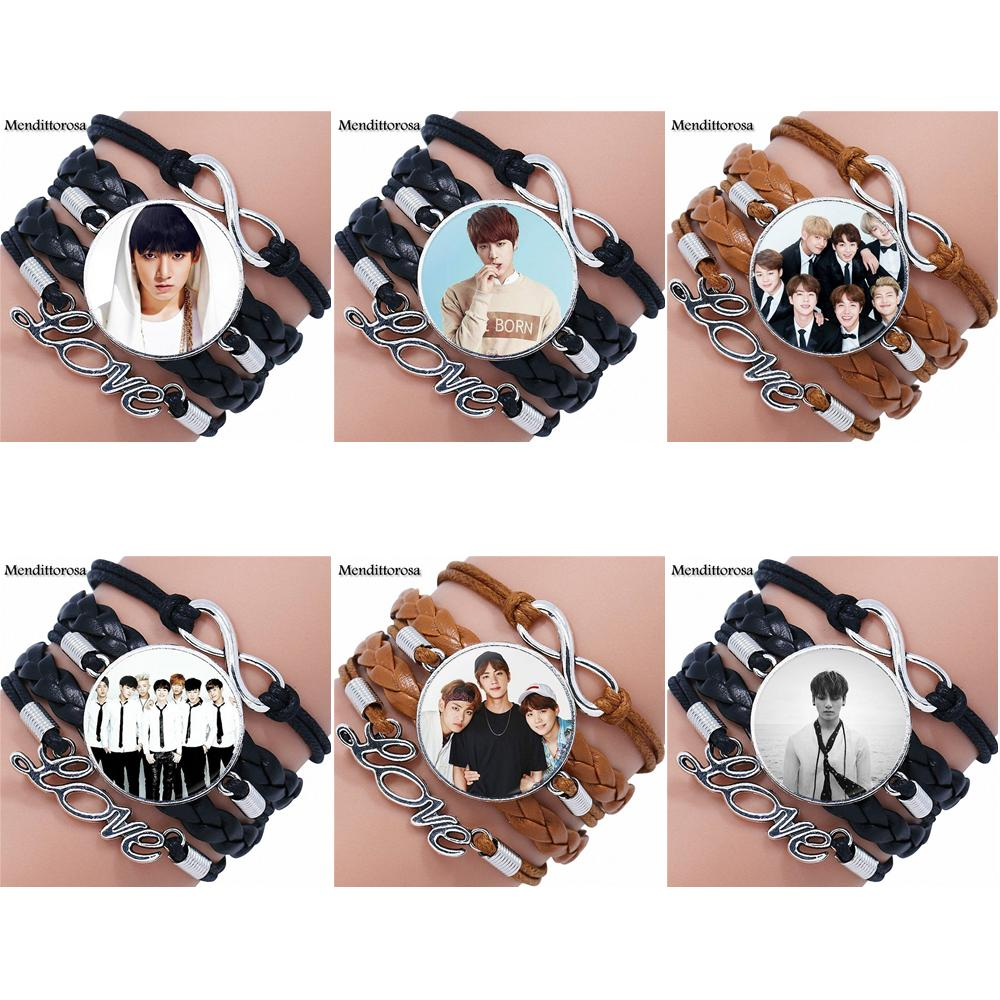 Mendittorosa Vintage Jewelry With Glass Cabochon Multilayer Black/Brown Leather Bracelet Bangle For Girls Gifts BTS Wings Teaser