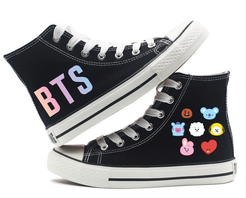 Unisex Fashion KPOP BTS 21 Canvas Shoes High top Flat Sneakers Shoes Casual Breathable Printing Shoes Lace up Leisure Shoes