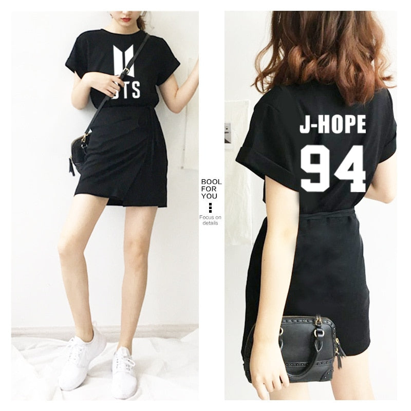 New Kpop BTS Bangtan Boys Jin Suga Jimin V One-piece Dress Women Summer Black Cotton College Wind Waist Thin Dress Vestido Saia