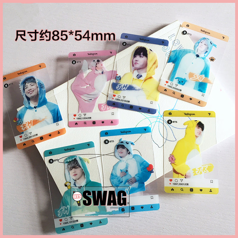 7Pcs/set Kpop BTS Muster PVC Transparent Cards Bangtan Boys Bt21 Card Fans Gift Collection Party Screenshot JIN V YLM9394