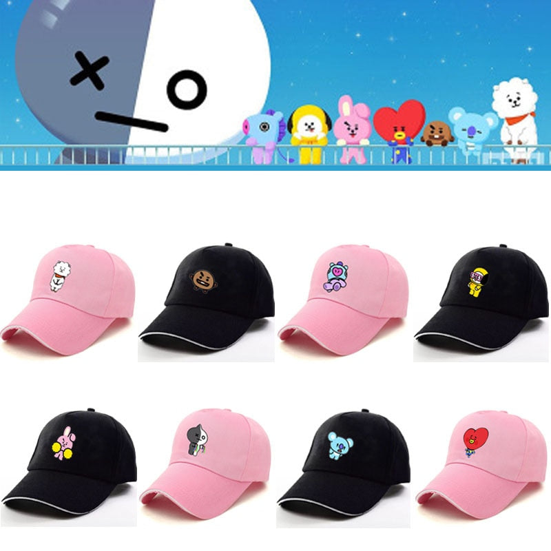 New Kpop BTS BT21 Bangtan Cartoon Boys Q Back JUNGKOOK SUGA JHOPE JIMIN Pink Black The Same Letter Baseball Hat Peaked Cap
