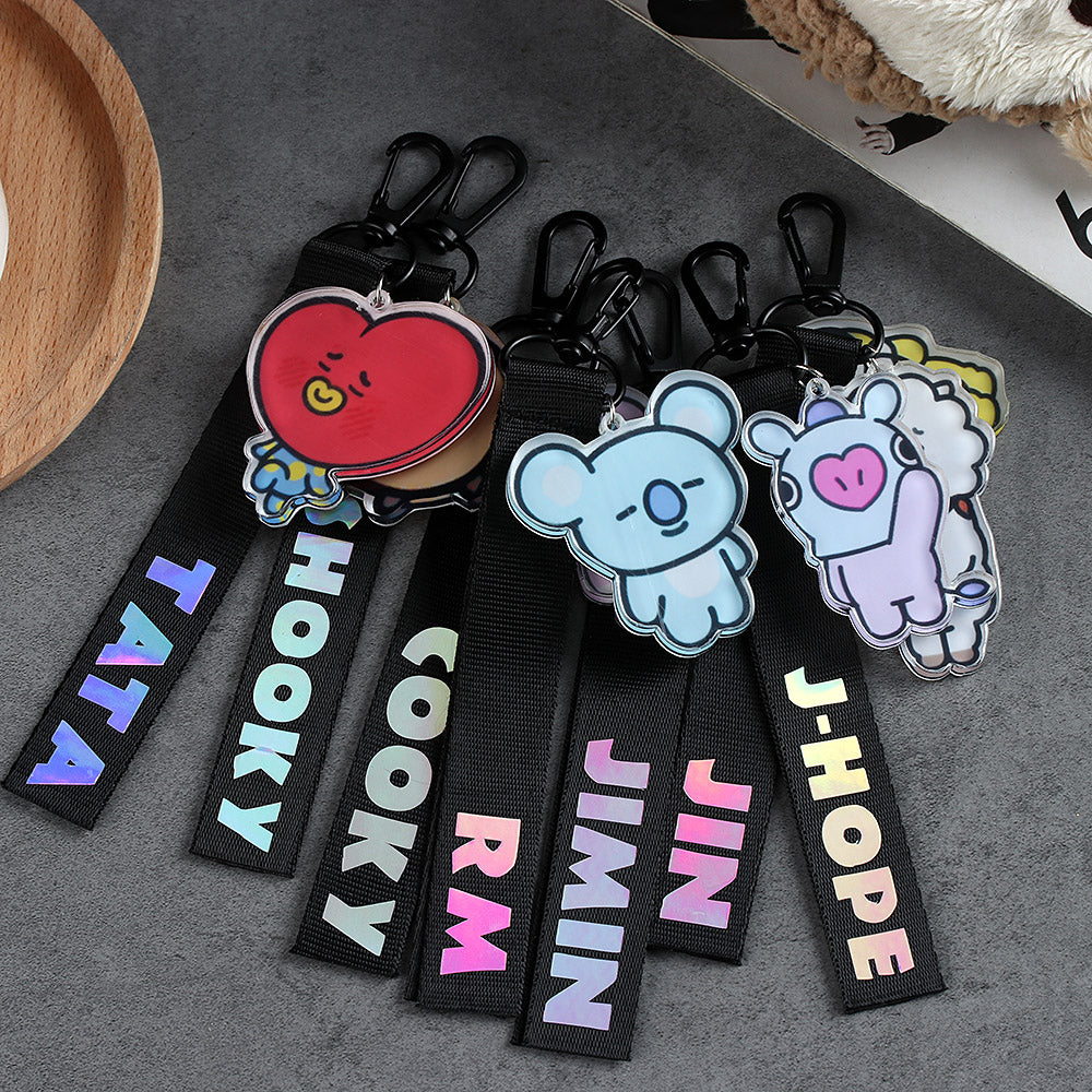 Okdeals Hot Acrylic BTS Keyring Kpop BTS BT21 Laser Lanyard TATA COOKY SHOOKY Cute Phone Strap Key Chain Ribbon Bag Pendant