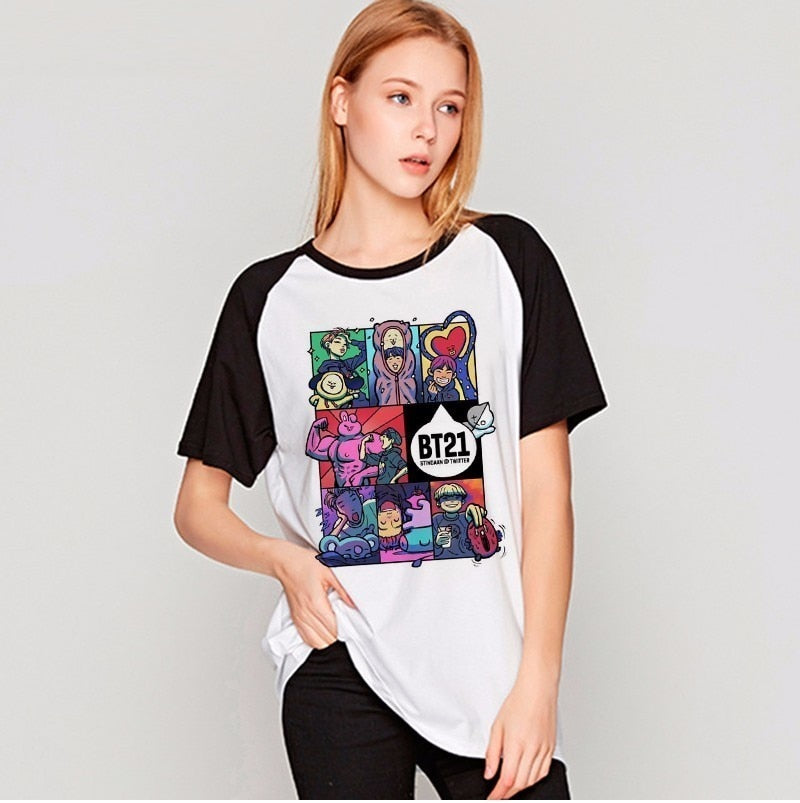 bts T Shirt bt21 female kpop 2017 Bangtan Boys T-shirt JUNG KOOK JIMIN SUGA v k-pop women k pop JIN Rap Monster TShirt tops