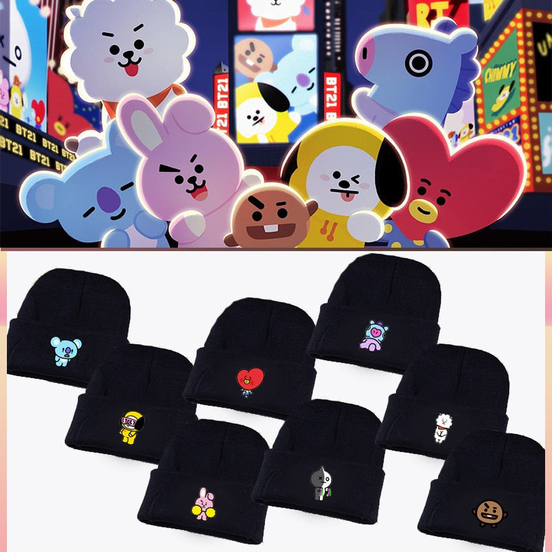 Kpop Bangtan Boys ARMY BTS BT21 Fans Club Beanie Hip Hop Cartoon Cute Printed K-pop Knitted Cap Unisex Cool Korean Style Hat