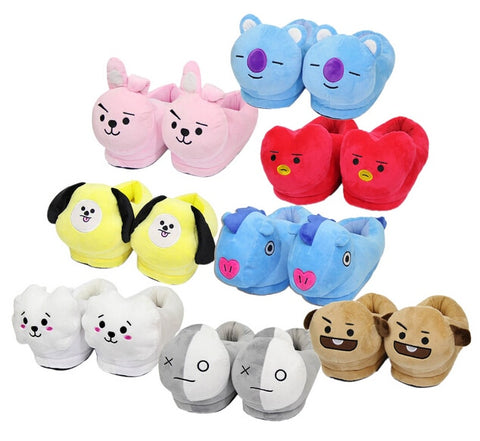 BTS BT21 Kpop Anime Kawaii Home Bulletproof Juvenile Korean Soft Warm Mood Home Star Plush Slippers Kpop Cartoon Shoes Toys