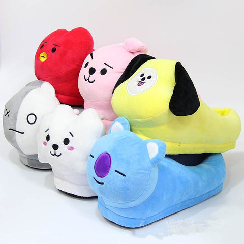 BTS BT21 Kpop Anime Kawaii Home Bulletproof Juvenile Korean Soft Warm Mood Home Star Plush Slippers Kpop Cartoon Shoes Toys 28cm
