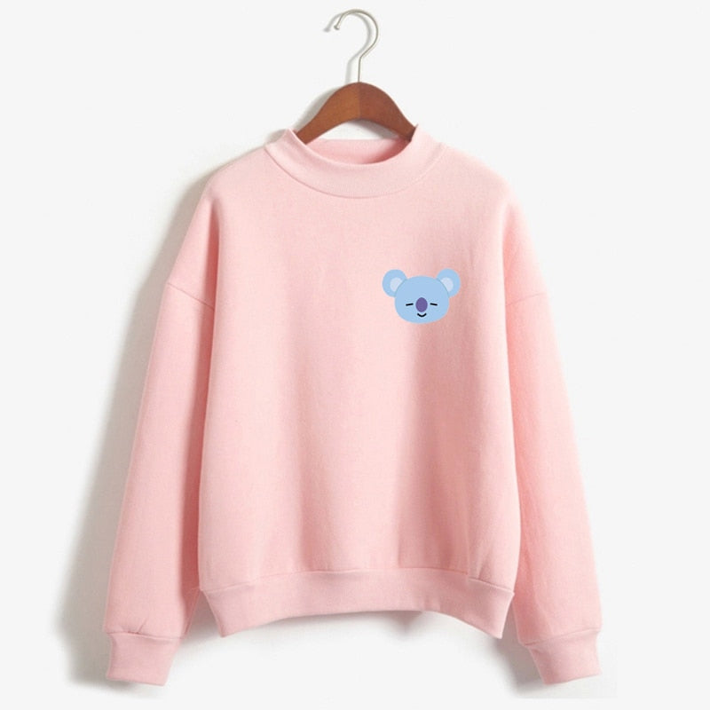 BTS BT21 Kpop Love Yourelf Korean Sweatshirt Women Fashion Sweatshirt Funny Hoodies Sweatshirts Kawaii Harajuku sudadera mujer