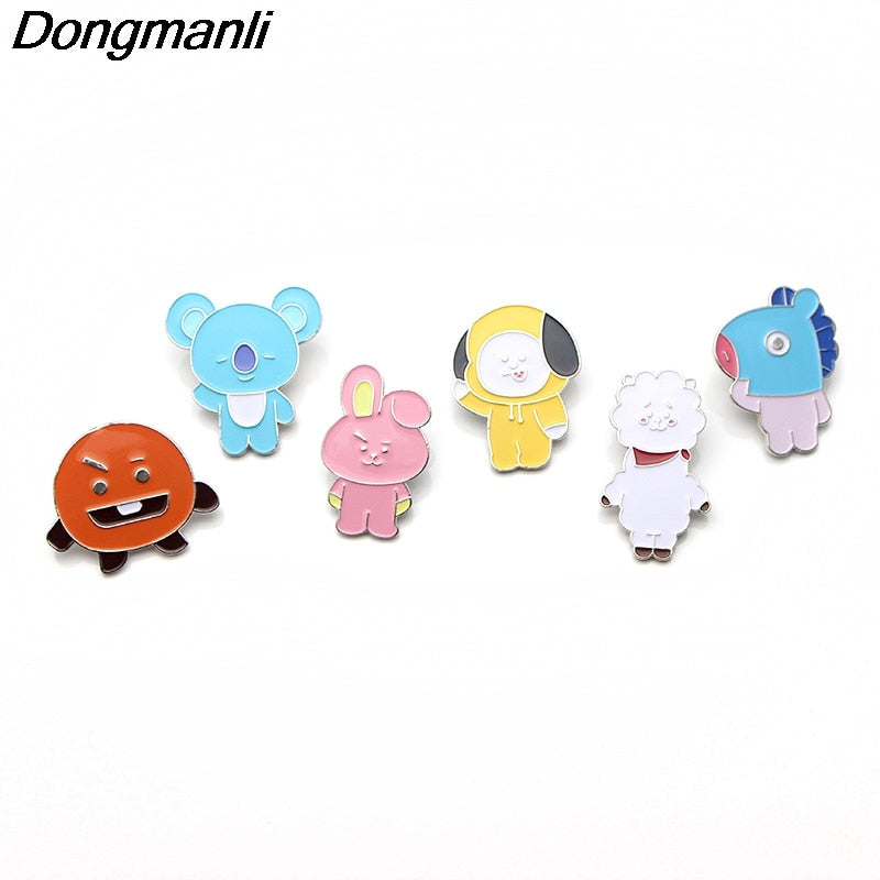 P2581 Dongmanli BTS Bangtan boys bt21 Korea Enamel Pin lapel pins Metal bts Badge Brooch bts accessories