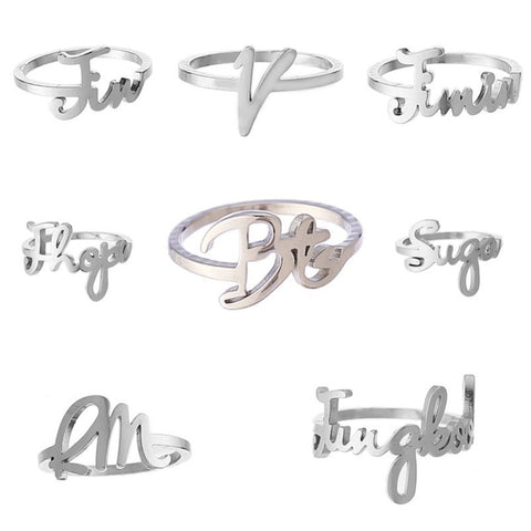 KPOP BTS Bangtan Boys SUGA V JUNGKOOK Name Album Ring Jewelry Rings Accessories For Men And Women Female Male Boy Girl #280173