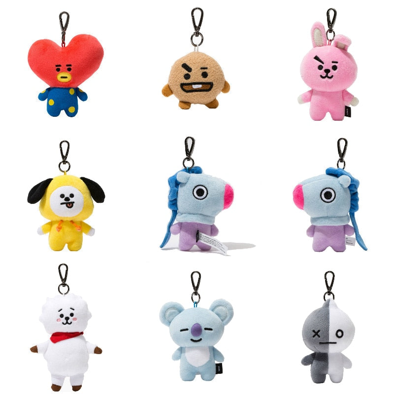 9-12cm BT21 BTS Pendants Doll TATA VAN COOKY CHIMMY SHOOKY KOYA RJ MANG Plush Keychain Toy High Quality Version Ragdoll