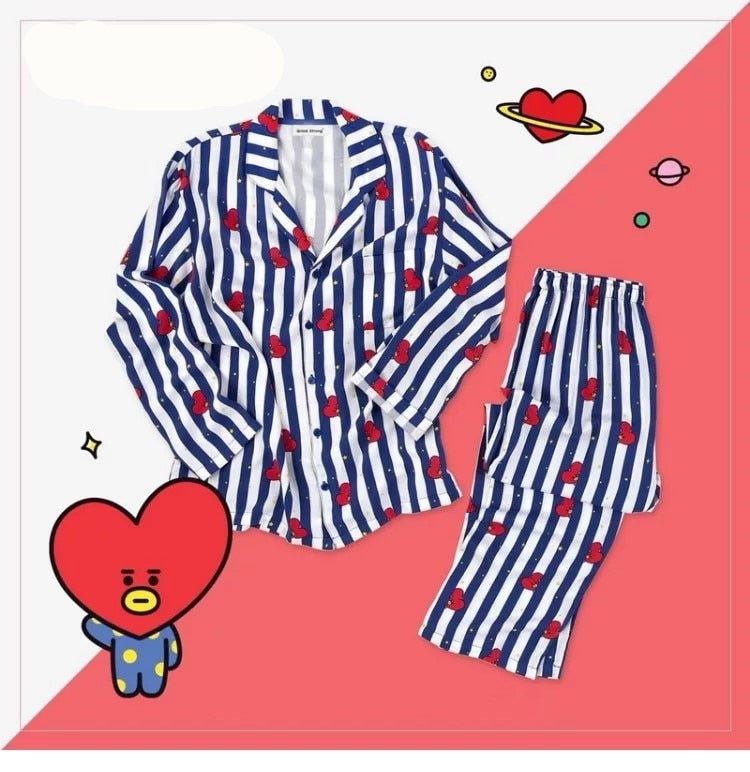Kpop home for BTS Bangtan Boys BT21 cartoon version v suga Same Harajuku pajamas long sleeve shirt nighty men women bedgown