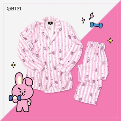 New Kpop BT21 Bantan Boys BTS JUNG KOOK JIMIN V Same Cotton Pajamas Nighty Man and Women's Bedgown Sleepwear Pyjamas Set