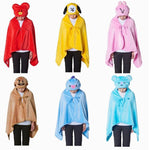 Kpop BTS Bangtan Boys Cartoon BT21 Plush Hooded Blanket COOKY CHIMMY TATA Soft Warm Shawl Air Conditioner Blanket Outdoor Hoody