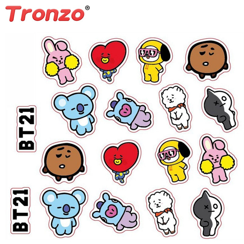 Tronzo BTS BT21 Army Bangtan Boys  DIY Chimmy Stickers For Notebook Luggage Cup Laptop Car Fridge Stickers Toys Wholesale 2018