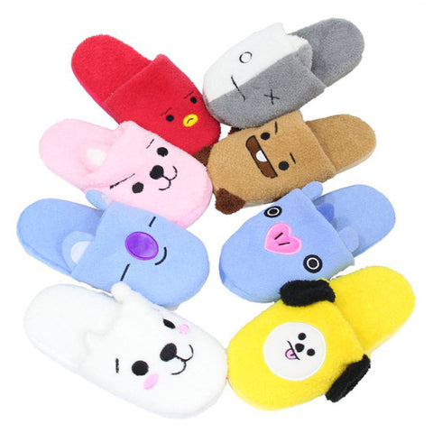 NEW Kpop BTS BT21 Bangtan Boys Q Styles Plush Slippers Toy Pencilcase Cute COOKY CHIMMY Warm Indoor House Home Party Shoes
