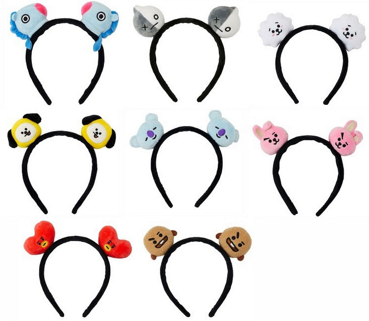 Kpophome New for BTS  Cadet BT21 TATA COOKY CHIMMY With Cartoon plush toy Headband Cute Gift personality Fashion cosplay