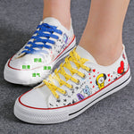 KPOP BTS BT21 Low Tops Shoes Canvas Boots Sneakers JUNG KOOK COOKY JIMIN JIMMY V TATA Suga Mang Women Casual Trainer New