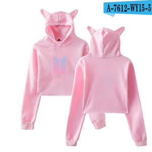 BTS Hip Hop Lvoe Yoruself Answer Cat Crop Top Women Clothes 2018 Hoodies Sweatshirts Casual Harajuku Kpop Plus Size A7610-A7613