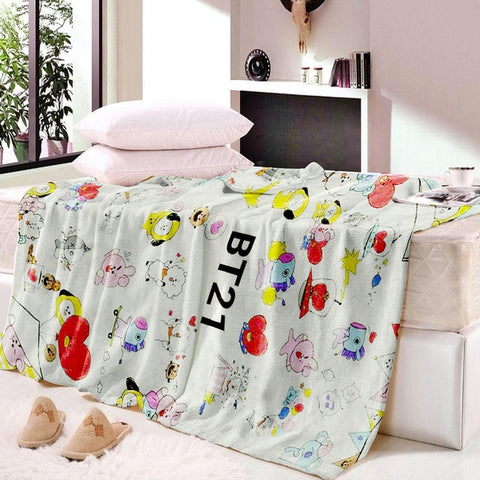 BT21 Throw Blanket BTS Floral Printed for Kids Girls Sherpa Blanket for Couch Black Thin Quilt  Christmas Decorations for Home