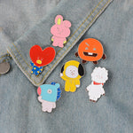BT21 Enamel Pin BTS TATA CHIMMY RJ COOKY SHOOKY MANG badge brooch Lapel pin Denim Jeans shirt bag Cartoon Jewelry Gift