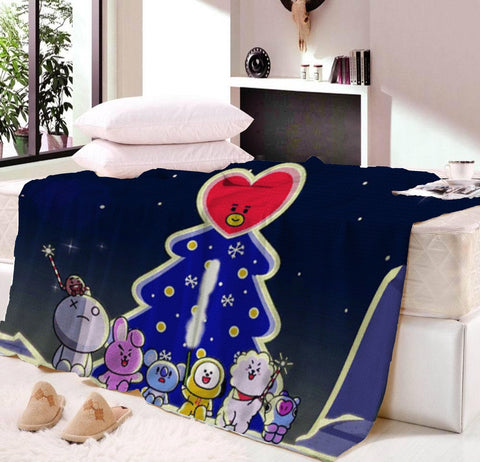 BT21 Printing Reversible Sherpa Blanket BTS Floral Vintage Fleece Blanket Flower Black White Gothic Bedding