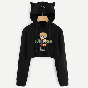 2018 Winter Fall Women BTS Kpop Sweaters Plus Size Female Clothes Harajuku Crop Tops Long Sleeve Shirts Korean Style Jmin Kint