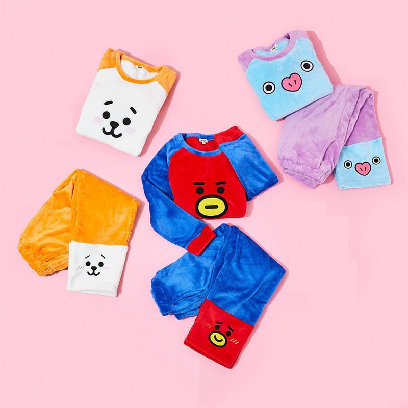 Kpop BTS Bangtan Boys Cartoon BT21 Pajamas Flannel Pyjamas Autumn Winter Warm Sleepwear Men Women Bedgown Nightclothes Sets
